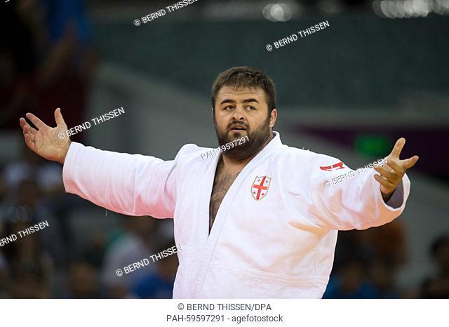 Adam Okruashvili of Georgia celebrates after winning gold in the Men's +100kg Final at the Baku 2015 European Games in Heydar Aliyev Arena in Baku, Azerbaijan