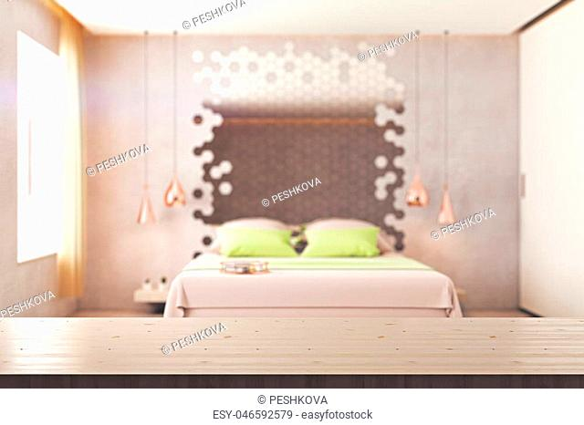 Abstract blurry bedroom interior with furniture, hexagonal mirror, window with sunlight and empty wooden surface. Mock up, 3D Rendering