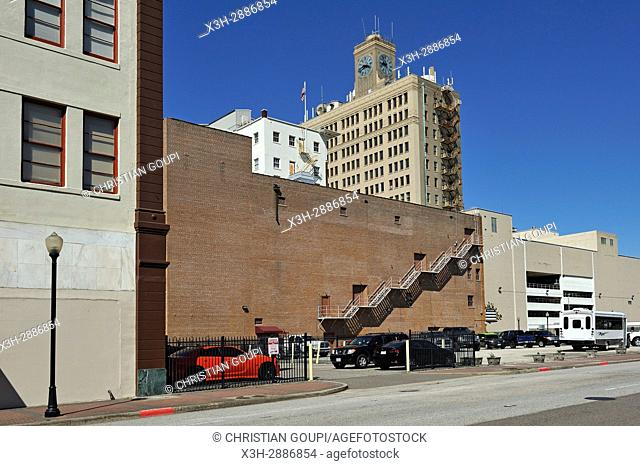 fire escape of Jefferson Theatre with San Jacinto Building in the background, Fannin Street in downtown Beaumont, Texas, United States of America, North America
