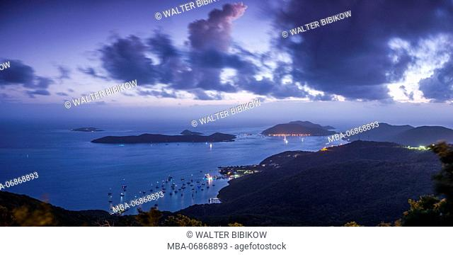 British Virgin Islands, Virgin Gorda, North Sound, elevated view of North Sound from Fanny Hill, dawn