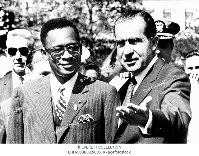President Richard Nixon welcomes Pres. Joseph Mobutu at the White House. Aug. 4, 1970. Mobutu's 'Pro-Western' positioning made him useful to American and...