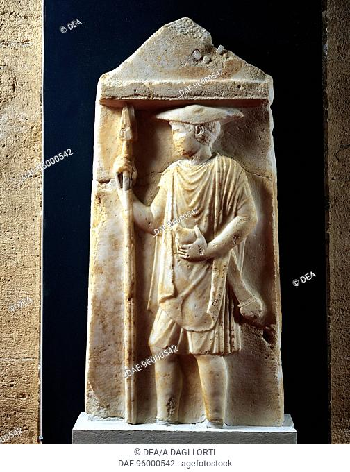 Relief depicting a hoplite, funerary stele in marble unearthed in the mound of the Tomb of Philip II at Vergina, Greece. Greek civilization, 5th Century BC