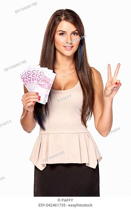 Woman with euro money paper currency in hand showing two fingers gesturing V sign, over white background