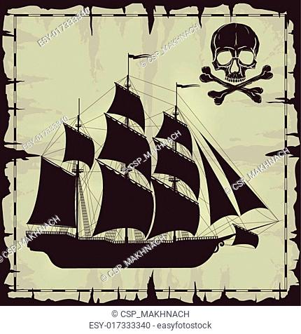 Large ship and skull over old paper