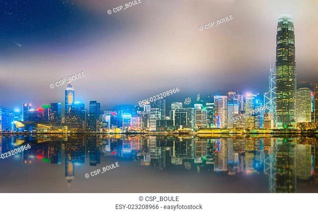 Panorama of Hong Kong and Financial district