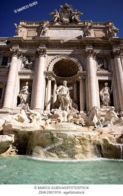 The historic fountain of Trevi in Rome, capital of Italy