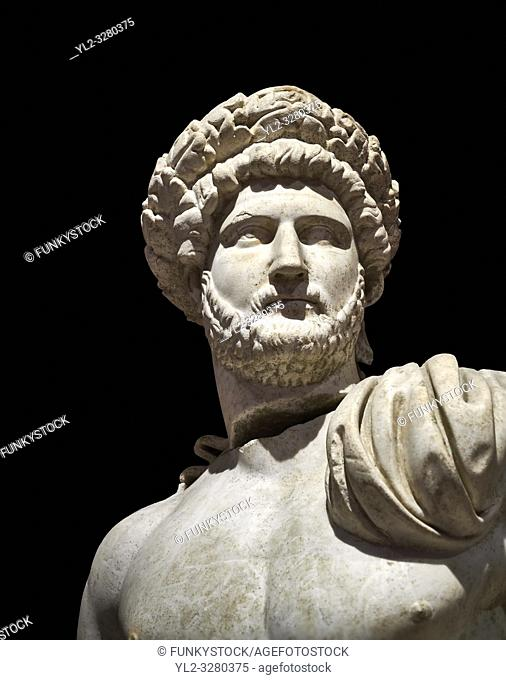 Roman statue of Emperor Hadrian . Marble. Perge. 2nd century AD. Inv no 3861-3863 . Antalya Archaeology Museum; Turkey. Against a black background