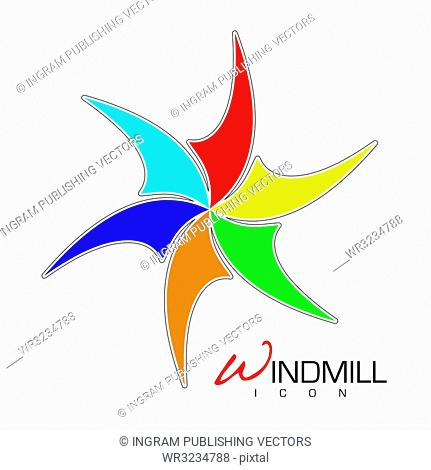Brightly colored windmill icon with sails and text