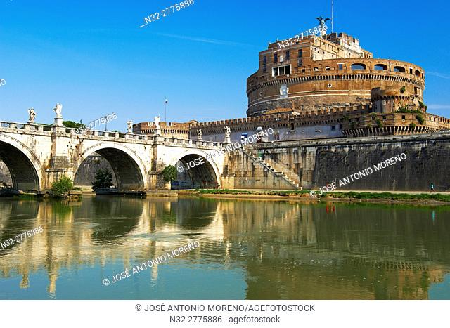 Sant Angelo Castle, Sant Angelo Bridge, River Tiber, Sant Angelo Castel, Mausoleum of Hadrian, Rome, Lazio, Italy