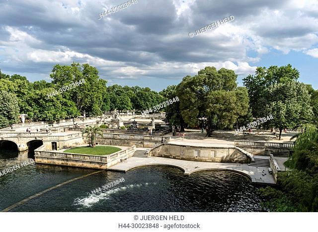 Le Nymphée with sculpture group at the park Les Jardin de la Fontaine in Nimes, France