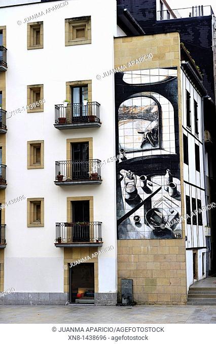 Singular facade Zuloaga Square in Donostia, San Sebastian, Basque Country, Spain