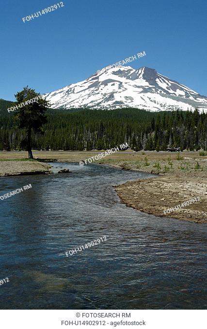 Deschutes National Forest, OR, Oregon, Mount Bachelor, Cascade Lakes National Scenic Byway, Cascade Range, Soda Creek