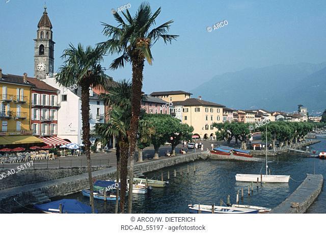 Boats in the harbour of Ascona Lago Maggiore Ticino Switzerland