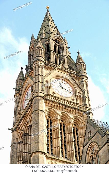 Town hall tower Manchester England UK
