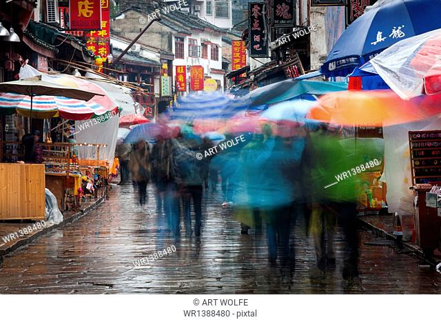 The town of Yangshuo, China in the rain