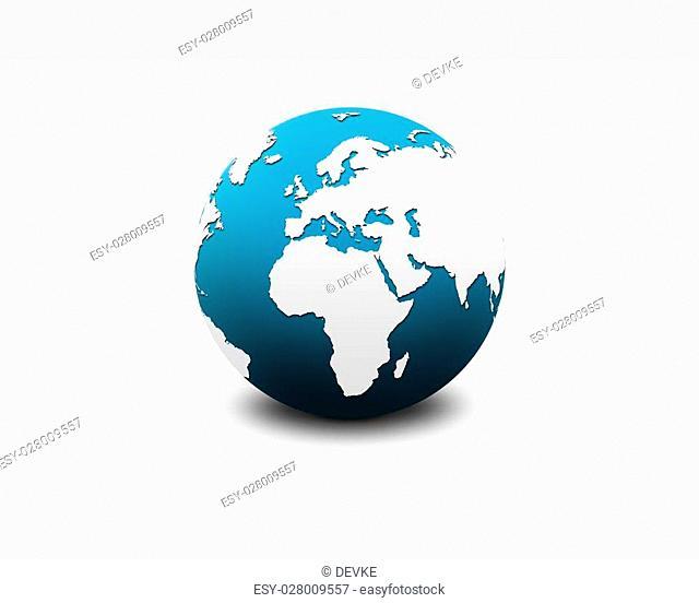 blue world globe isolated on a greyish background