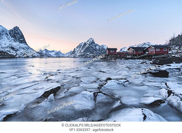 Reine Bay at sunset in winter. Reine, Nordland county, Northern Norway, Norway