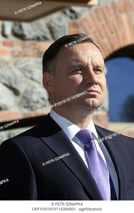 President of Poland ANDRZEJ DUDA attends the welcome ceremony and photo session during the two-day meeting of presidents of V4 countries (the Czech Republic