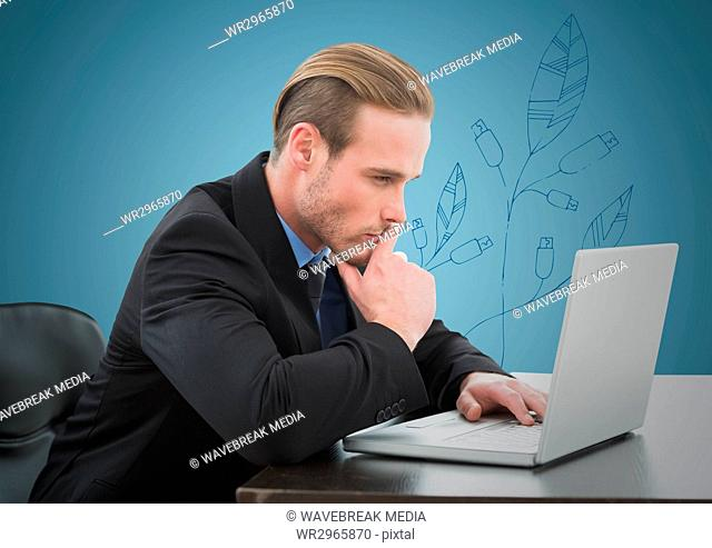 Business man thinking at laptop against blue background with blue leaf graphic