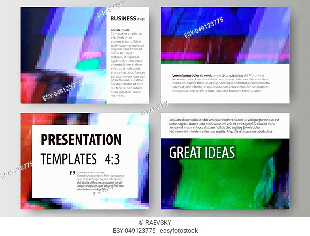 Set of business templates for presentation slides. Easy editable abstract vector layouts in flat design. Glitched background made of colorful pixel mosaic