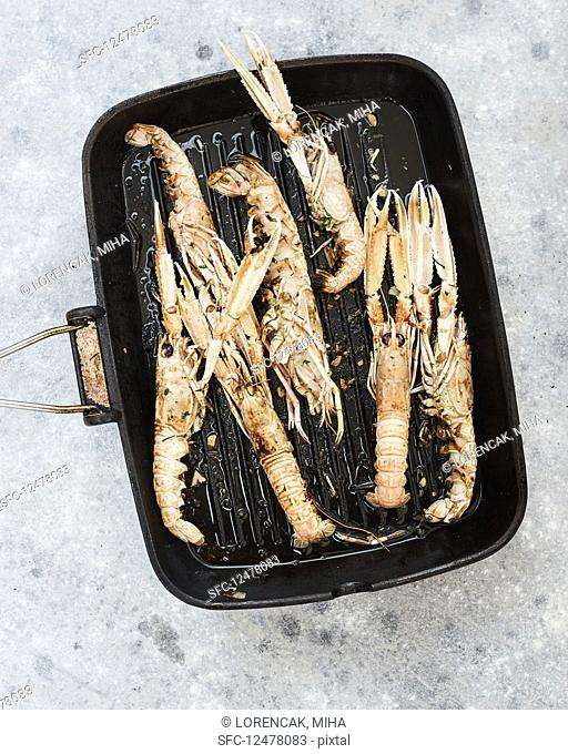 Pan grilled marinated shrimps