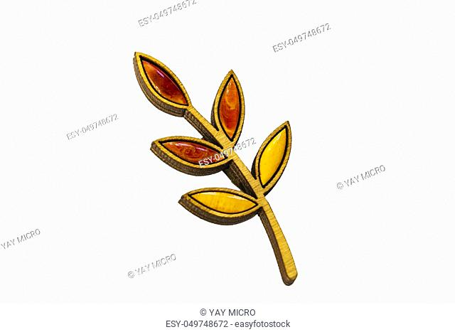 Beautiful brooch on a white background