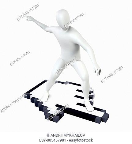 Abstract white guy rides on large computer cursor