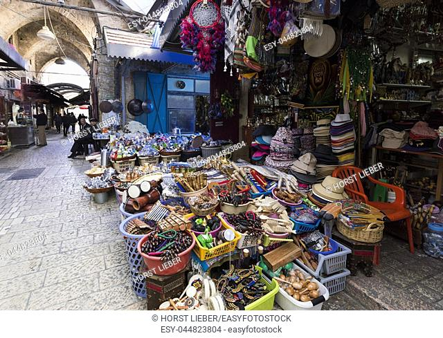 The Arabic suq in the historic old city of Akkon, Israel. , Middle East