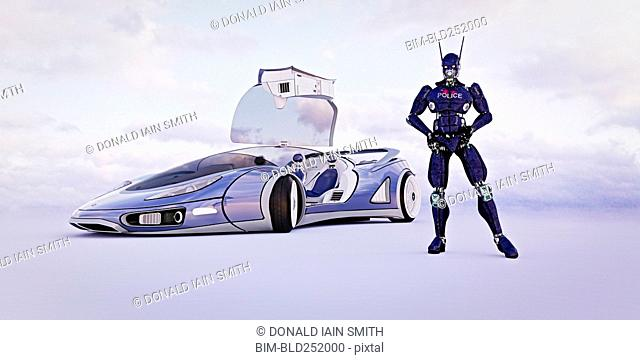 Futuristic robot officer and police car