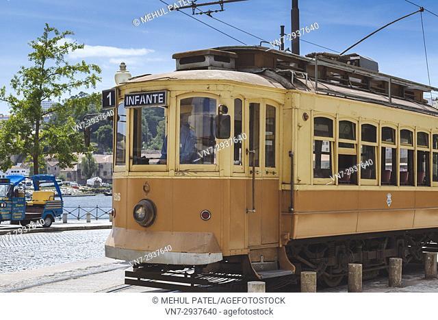 Vintage tram car in operation in Porto, Portugal