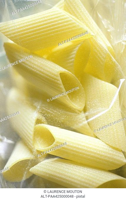 Penne pasta in package, close-up