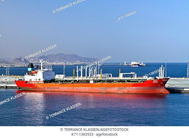 Oil tanker at an oil loading facility in Fujairah, UAE