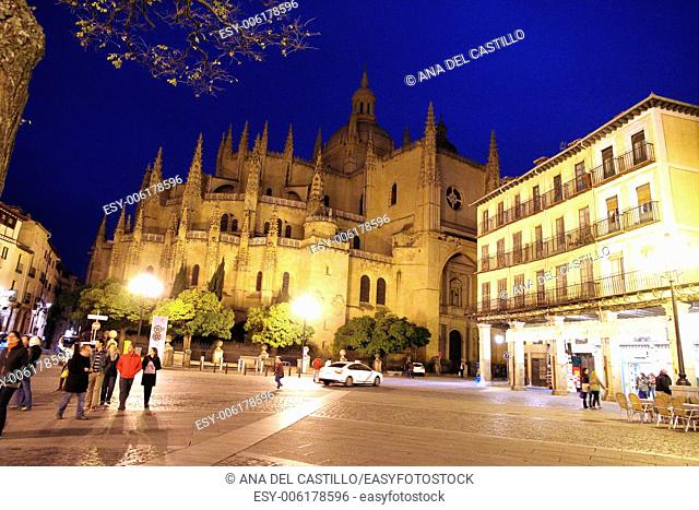 Cathedral in Segovia (Spain) at night from Plaza Mayor square