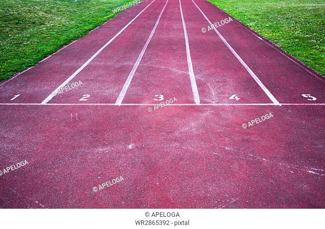 High angle view of red running track