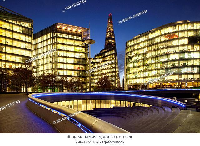 Twilight over the Shard and More London Development on the South Bank, London England, UK