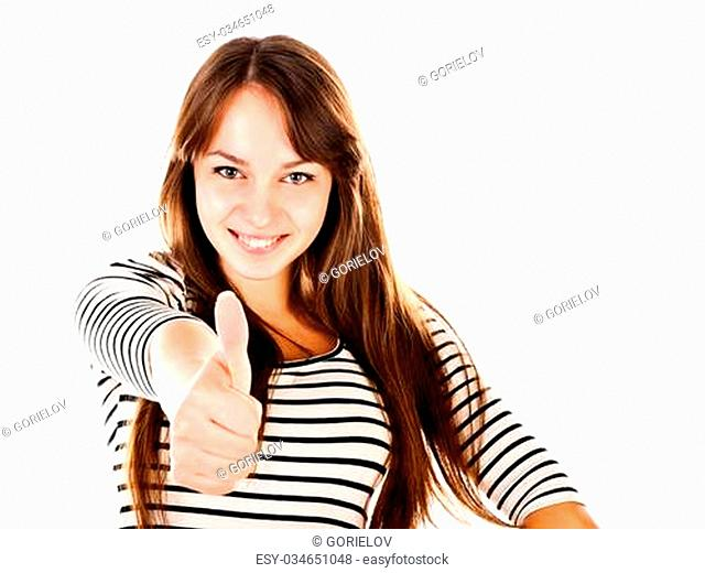 young woman showing thumb up isolated on a white background