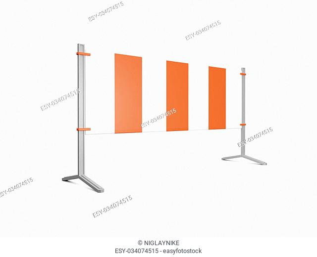 Road barrier or construction sign with lights, isolated on white background