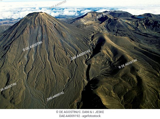 Mount Ngauruhoe (2291 metres), Central Plateau, Tongariro National Park (UNESCO World Heritage List, 1990), North Island, New Zealand. Aerial view