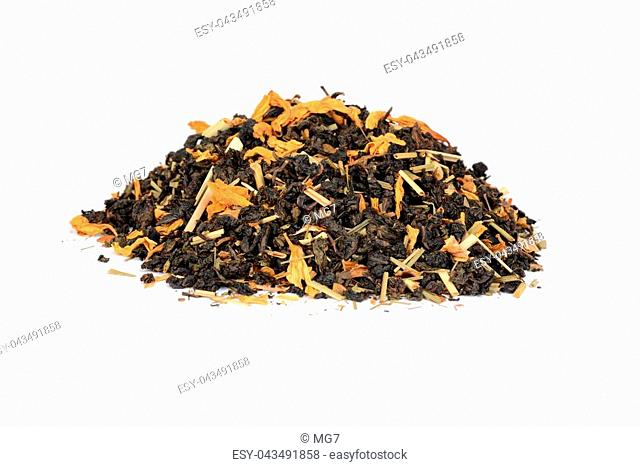 pile of organic tea with lemon grass flowers on white background
