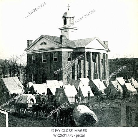 This is the only known photograph of the original courthouse on the Oxford Square in Oxford, Mississippi. It was taken in the area near Old Venice Pizza Company...