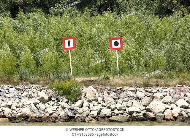 Vulturu, Danube navigation, shipping signs at the Danube riverbank near Vulturu at the Sulina branch, mandatory signs, attention, give a honk, Romania