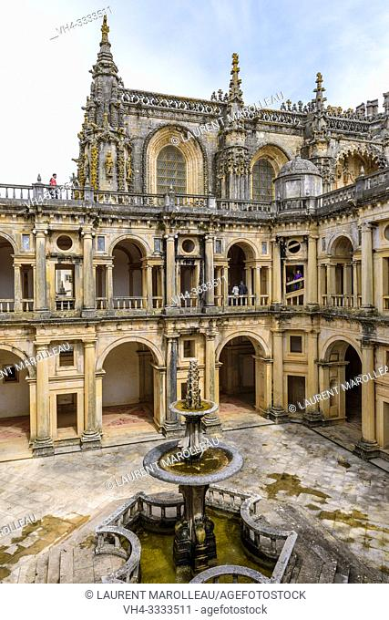 The Manueline nave of Convent of Christ, seen from the cloister of John III, Tomar, Santarem District, Centro Region, Portugal, Europe