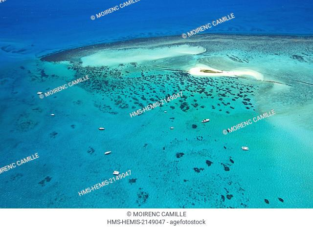 France, New Caledonia, Southern Province, off Noumea Goelands Island, Lagoon classified as a UNESCO World Heritage (aerial view)