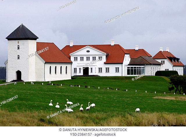 Church and house - official residence of the President of Iceland - Bessastadir, city of Alftanes close to Reykjavik, Capital Region, Iceland