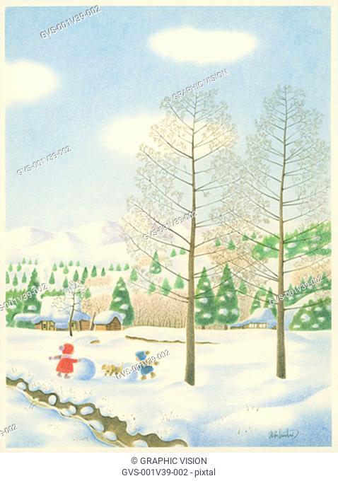Illustration of Two Children Making Snowman