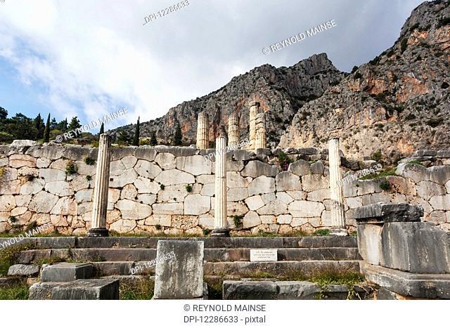 Athenian stoa; Delphi, Greece