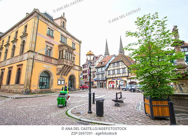 Medieval architecture in Obernai on May 13, 2016 in Alsace France. The city hall and St Odile fountain