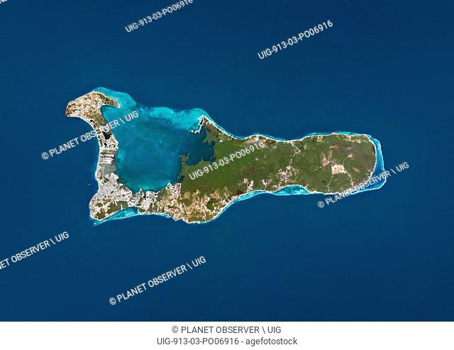 Satellite view of Grand Cayman. It is the largest of the three Cayman Islands. This image was compiled from data acquired by Landsat satellites