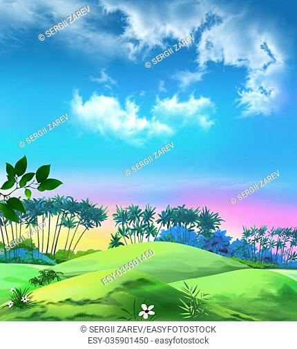 Digital painting of the landscape with palms against the blue sky