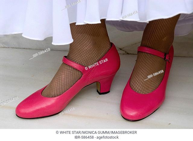 Flamenco dancer with pink shoes, Conservatorio de Danza, Sevilla, Andalusia, Spain, Europe